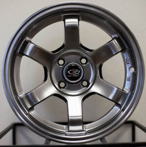 4 New 15 Rota Grid Concave Wheels 15x8 4x100 20 Hyper Black Rims
