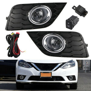 Pair Clear Lens Fog Light Lamp Wiring Switch Kit For 2017 2019 Nissan Sentra