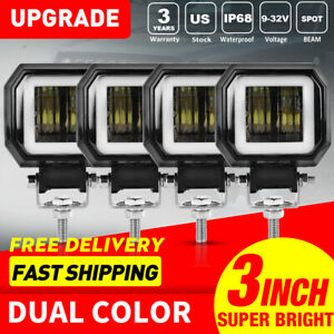 4pcs 2000lm Universal Led Work Lights 3 Square Blue Led Drl Halo Angel Eyes