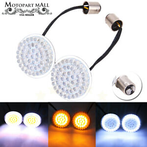 2 Bullet Style 1157 Led White Amber Turn Signal Running Lights Bulb For Harley