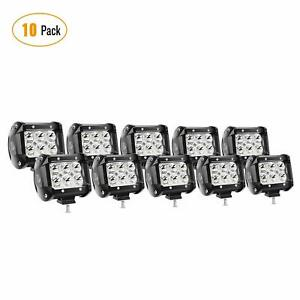 Nilight 10pcs 4 inch 18w Led Light Bar Spot Pods Lights Off road Tractor 4wd Atv
