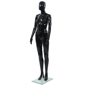 Vidaxl Full Body Female Mannequin With Glass Base Glossy Black 68 9 Display