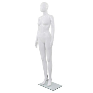Vidaxl Full Body Female Mannequin With Glass Base Glossy White 68 9 Display