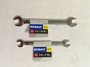 Lot Of 2 Kobalt 1 2 In And 3 8 X 7 16 Open End Standard Sae Wrenchs