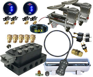 V Air Ride Suspension Manifold Valve 3 8 7switch Digital Dual Compressors Tank