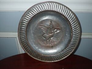 4 Antique Chinese Tin Lined Copper Charger Plates Duck Motif 11