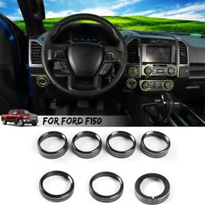 7x Headlight Volume Air Condition Switch Knob Trim Ring For Ford F150 Xlt 2016