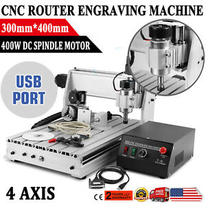 Usb Cnc Router Engraver Engraving Cutter 4 Axis 3040 T screw Desktop Cutting