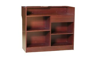 Cherry Wood Laminate Finish Ledge Top Register Counter With Rear Storage 48