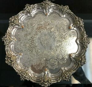 Ornate Antique 8 1 4 D Silver Plate On Copper 3 Footed Tray