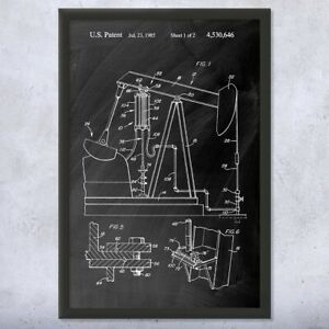 Framed Oil Well Pump Jack Print Energy Contractor Roughneck Gift Oil Wife Gift