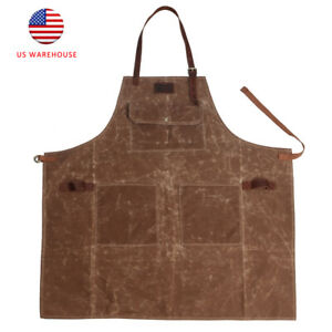 Tourbon Wax Canvas Work Apron Leather Strap Apron With Pockets For Cafe Baker Us