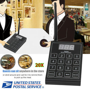 Restaurant Wireless Calling Paging Queuing System 1 keypad 20 coaster Pager Us