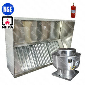 6 Ft Restaurant Commercial Kitchen Exhaust Hood Exhaust Fan Fire System
