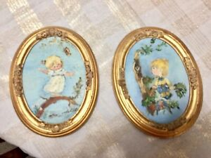 Set Of Two Gold Oval Wood Picture Frames With Hand Painted Art By Local Artist