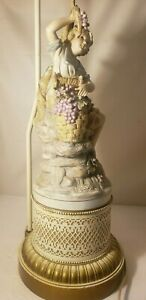 Victorian Porcelain Night Light Figural Child With Grapes Metal Base Table Lamp