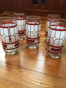 5 Coca Cola Vintage Tiffany-style Glasses Coke Frosted Stained Glass