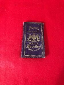 Antique Sewing Red Leather Blood S Patent Helix Needle Case 1800s