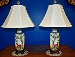 25 Matched Pair Of Chinese Porcelain Vase Lamps Asian Oriental Horse Jingdezhen