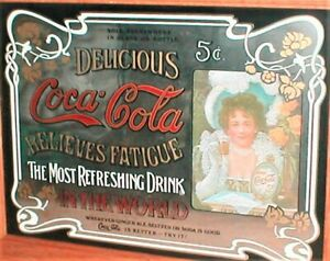Vintage 24 inch by 19 inch Wood Frame Coca-Cola Mirror Sign with a Lady  Mint