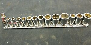Snap On 1 4 Drive 6 8 Point Sae Socket Set 14pc 3 16 9 16 W universal