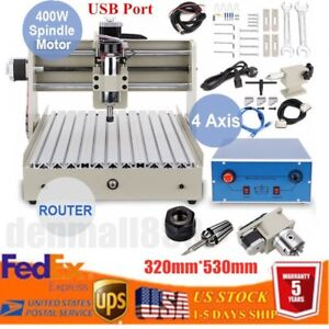 Usb 4 Axis Cnc 3040t 400w Router Engraver Drilling Milling Machine Cutting Wood