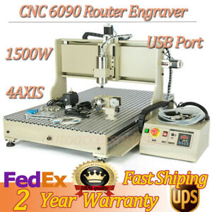 4axis Cnc Router 6090 Engraver 1500w Metal Wood Carving Machine Usb Con