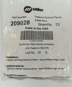 Pack Of 25 Miller Electric 209028 Tip Fastip Tapered Contact 3 64