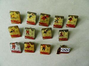 Lot of 13 Coca Cola Olympic pins for Calgary winter games 1988. All Different.