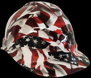 Hydro Dipped American Flag Hard Hat With 6 Point Ratchet Suspension