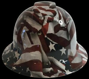 Hydro Dipped Hard Hat Full Brim High Gloss Vintage American Flag 6 Point Harness