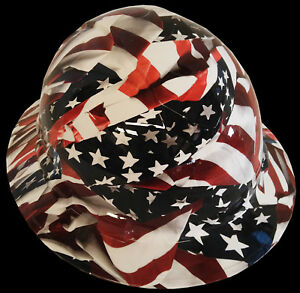 Hydro Dipped Hard Hat Full Brim High Gloss American Flags 6 Point Harness