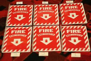 6 Pieces 8 X 12 90 Deg Fire Extinguisher Arrow Sign Aluminum double Sided