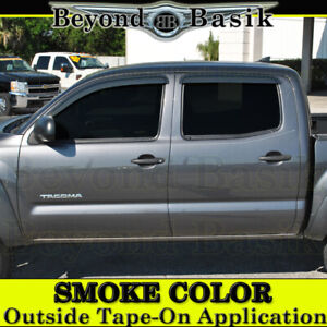 For 2005 2015 Toyota Tacoma 4dr Double Cab 4pc Smoke Door Vent Visors Rain Guard
