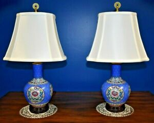 22 Pair Of Chinese Porcelain Vase Lamps Asian Oriental Dbl Dragon Medallion