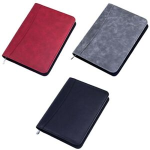 2x a5 Padfolio With Calculator Zipper Binder Notebook Briefcase File U8s2