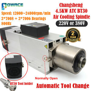 4 5kw Bt30 Atc Automatic Tool Change Air Cooling Spindle Motor 220v Or 380v 15a