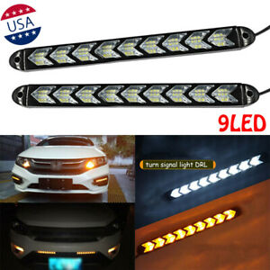 Car Led Amber White Switchback Flowing Strip Arrow Flasher Drl Turn Signal Light