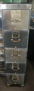 Library Bureau Sole Makers 5 Drawer Metal File Cabinet Industrial