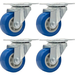 Lot Of 4 1 5 Low Profile Casters Wheels Soft Rubber Swivel Caster Blue