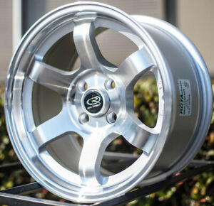 4 New 15 Rota Grid Concave Wheels 15x8 4x100 20 Full Royal Silver Rims