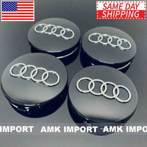 4x Pc Black Chrome Wheel Rim Replacement Center Hub Caps For Audi 60mm 4b0601170