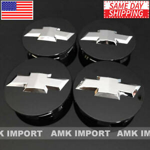 4x Studded Gloss Black Wheel Center Caps For Chevy Silverado Suburban Tahoe 3 25