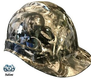 Hydro Dipped Custom Hard Hat High Gloss White Turbo And Piston 6 Point Harness