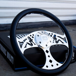 14 Inch Chevy C10 Polished And Black Vinyl Steering Wheel With Horn Button 6