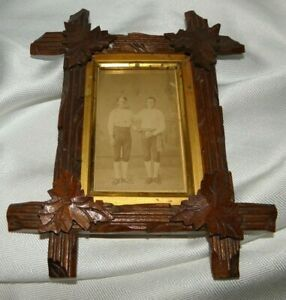 Antique Victorian Tramp Art Frame Antique Picture Of 2 Baseball Players 8 X 6 5