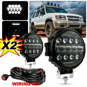 2x 7inch Off Road Led Work Lights Bull Bar Drl Driving Pods Round Atv Motor wire