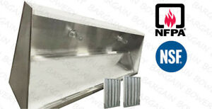 15 Ft Restaurant Commercial Kitchen Exhaust Hood Low Profile Sloped Front