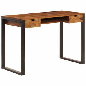 Vidaxl Desk 39 4 Solid Sheesham Wood And Steel Pc Table Office Workstation