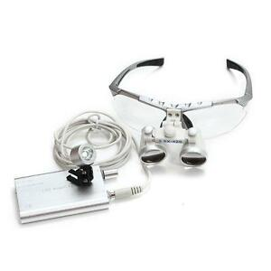 Dental Magnifier Zoom Binocular Loupes led Head Light Lamp 3 5x420mm Silver